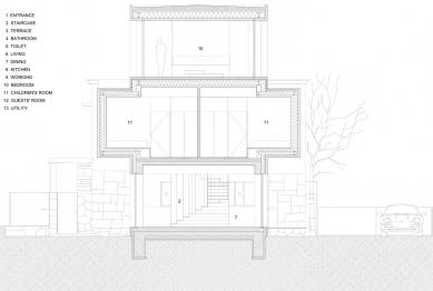Villa 3 Shoebox - Řez b-b' - foto: OFIS arhitekti