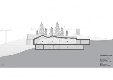 Horská chata Oberholz - Podélný řez - foto: Peter Pichler Architecture