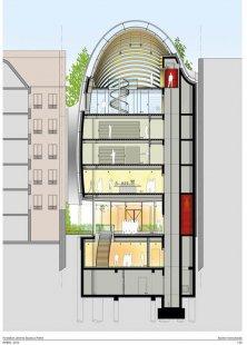 Sídlo nadace Jérôme Seydoux-Pathé - Příčný řez - foto: Renzo Piano Building Workshop