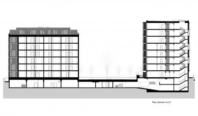 Obytný súbor Ahoj park - Řez domem A a C - foto: Compass Architekti