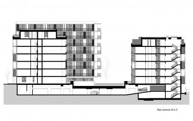 Obytný súbor Ahoj park - Řez domem B a C - foto: Compass Architekti