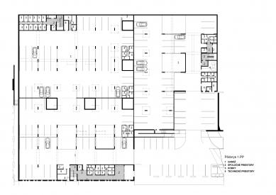 Obytný súbor Ahoj park - Půdorys 1.pp - foto: Compass Architekti