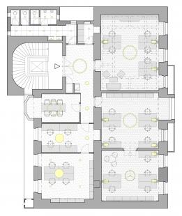 Rekonstrukce bytu továrníka na současné kanceláře - Půdorys