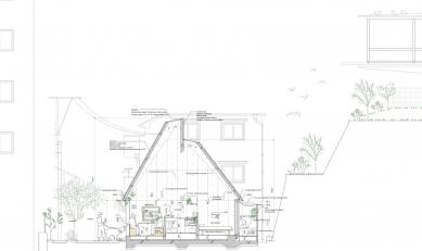 Love2 House - Podélný řez - foto: Takeshi Hosaka Architects