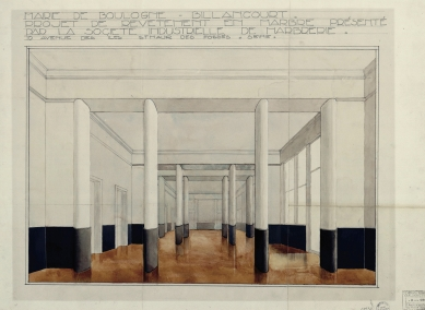 Radnice vBoulogne-Billancourt - Kresba interiéru