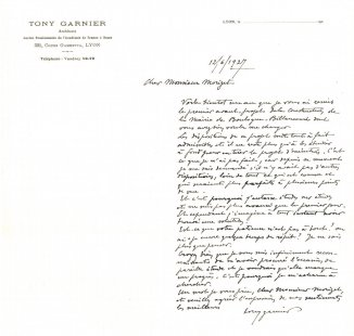 Radnice vBoulogne-Billancourt - Garnierův dopis starostovi z roku 1927