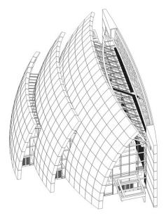 Chrám Church of the Jubilee - Axonometrie - foto: © Richard Meier & Partners Architects LLP