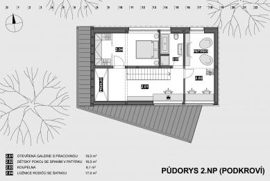Dům na okraji CHKO Jizerské hory - Půdorys podkroví