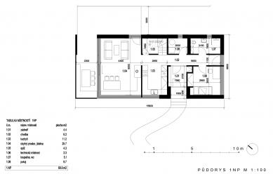 Rodinný dům Prysk  - Půdorys 1NP