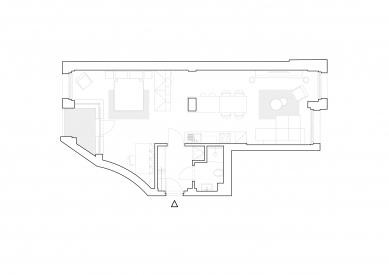 Malý loft ve velkém stylu - Půdorys bytu - foto: Mooza architecture