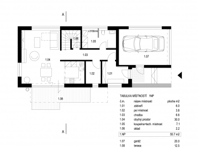 Rodinný dům Cholupice - Půdorys 1NP