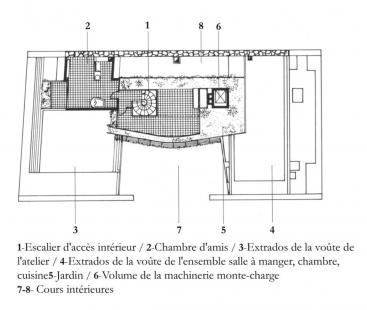 Le Corbusierův byt s ateliérem - Půdorys 8.np