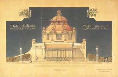 Dvorní zastávka Hietzing - Olbrichova kresba dvorního pavilonu