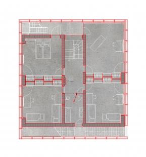 House in a Steel Corset - Půdorys patra - foto: Šépka architekti