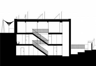 Vila v Troji - Podélný řez - foto: Šrámková architekti