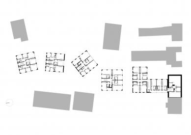 Housing Corso Pod Lipami - Půdorys s mezonety - foto: Ehl & Koumar architekti