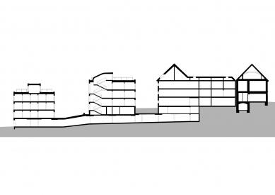Housing Corso Pod Lipami - Podélný řez - foto: Ehl & Koumar architekti