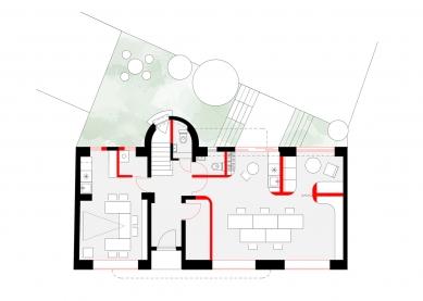 Dům s kancelářemi a byty - Půdorys přízemí - foto: studio AEIOU