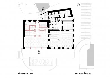Expanze Pivovaru Falkenštejn - Půdorys přízemí - foto: Atelier Hoffman