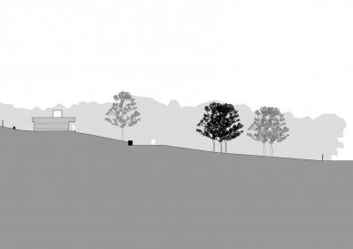 """Zahrada """"AMA"""" - Podélný řez pozemkem"""
