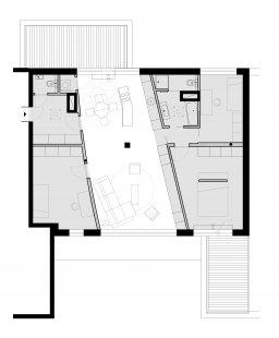 Interiér bytu ve střešní nástavbě v Pardubicích - Půdorys