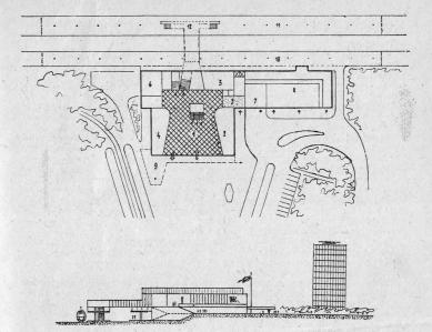Nové nádraží Ostrava-Vítkovice - Výkres přízemního patra budovy a její příčný řez. Legenda: 1 hala; 2 pokladny; 3 zavazadla; 4 spěšniny; 5 čekárna nekuřáků;; 6 turfo; 7 pošta; 8 dopravní trakt; 9 přístřešek elektrické dráhy; 10 I. nástupiště; 11 II. nástupiště; 12 schodiště s eskalátory.