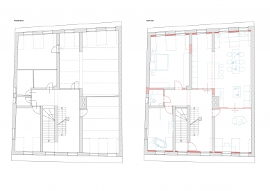 Přestavba bytu v Šumperku - Půdorysy před a po rekonstrukci - foto: UYO architekti