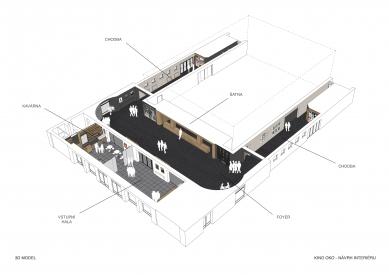 Rekonstrukce interiéru Kina Oko v Šumperku - Axonometrie - foto: UYO architekti