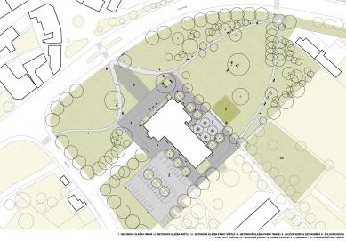 Park okolo kulturního domu v Hlučíně - Hlavní výkres - návrh