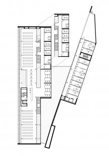 Univerzitní knihovna ve Výmaru - Půdorys 3. a 4.np  - foto: meck architekten