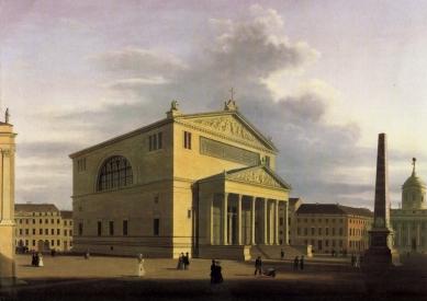 Kostel svatého Mikuláše v Postupimi - Olejová malba Nikolaikirche od Wilhelma Bartha z roku 1838