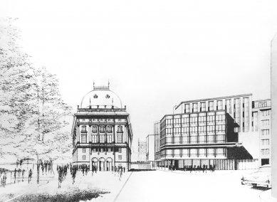 Nová scéna v Praze - Zadní průčelí, perspektiva - foto: Bohuslav Fuchs, 1965