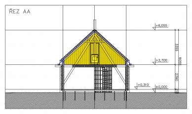 Přístavba Jižní Čechy - Řez a-a' - foto: Huť architektury Martin Rajniš