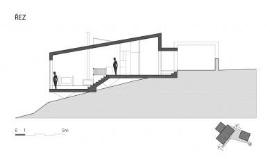 Víkendový dům nad lomem - Řez - foto: BLOK_architekti