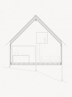 Prázdninový dům na ostrově Viggsö - Řez a-a' - foto: Arrhov Frick Arkitektkontor
