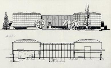 Československý pavilon na světové výstavě Expo 58 - Řez a pohled