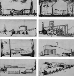 Československý pavilon na světové výstavě Expo 58 - Na projekt pavilonu byla v létě 1956 vypsána užší architektonická soutěž. Zúčastnili se jí architekti: 1 F. Cubr, J. Hrubý, Z. Pokorný, 2 S. Svetko, E. Vician, S. Ďurkovič, 3 G. Paul, 4 B. Fuchs, 5 V. Vilhan, F. Milučký, 6 F. M. Černý, 7 J. Frágner, 8 J. Hipmann