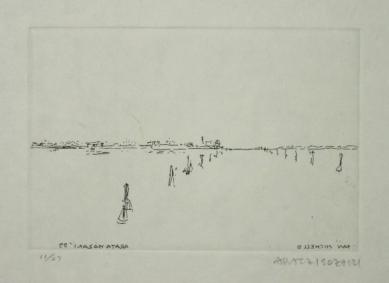 Hrob skladatele Luigi Nono - Isozakiho skica benátského hřbitova San Michele