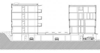 Bytový dům na Kavčích horách 1 - Řez - foto: © Architektonický ateliér KAAMA