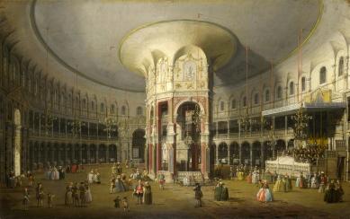 Lovecký knížecí zámeček v Antoníně - Vnitřek rotundy v zahradách Ranelagh (Chelsea u Londýna) na obraze Giovanni Antonio Canaletto (olej na plátně o rozměrech 75.6 x 47 cm) z roku 1754 se dnes nachází v londýnské Národní galerii.