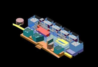 School of Architecture Marne-la-Vallée - Axonometrie vítězného návrhu - foto: © Bernard Tschumi Architects