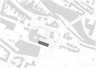 Přístavba Katolického gymnázia vTřebíči - Situace - návrh