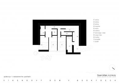 Víkendový dům v Beskydech - Půdorys 1NP