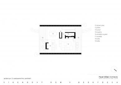 Víkendový dům v Beskydech - Půdorys 2NP