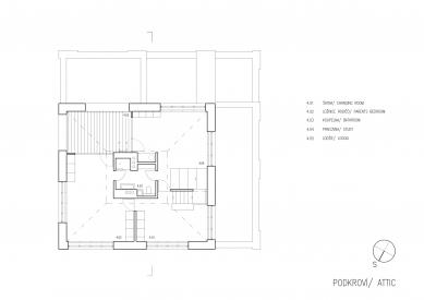 Vila v Matějské - Půdorys podkroví - foto: Lábus - AA Architektonický Ateliér