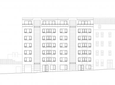 Bytový dům Šumavská - Pohled z ulice