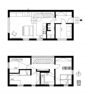 Dům Zadní Třebaň - Půdorysy