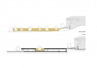 Nový pavilon základní školy v Líbeznicích - Severni pohledy a řez A-A' - foto: Grulich architekti