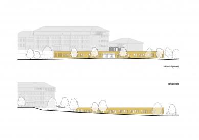 Nový pavilon základní školy v Líbeznicích - Východní a jižní pohled - foto: Grulich architekti