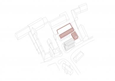 Hospodářský dvůr s hasičárnou vLíbeznicích - Axonometrie - foto: Ehl & Koumar architekti